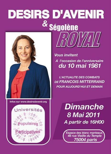 Rassemblement populaire sur l'actualité des combats de François Mitterrand en présence de Ségolène Royal